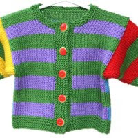 handknit baby sweater red blue green yellow purple