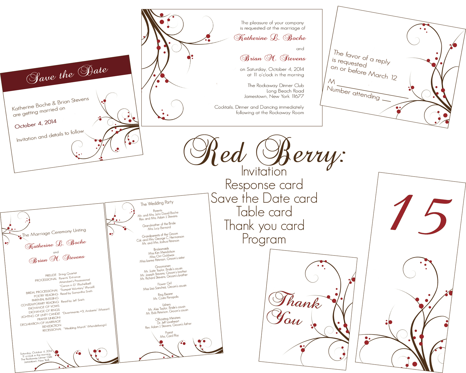 Shannon Hairr Designs Red Berry Wedding Invitation Package