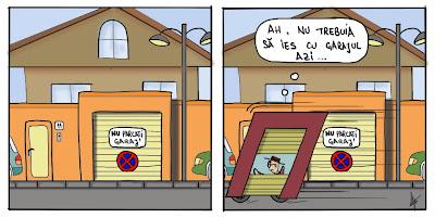 Comic cartoon benzi desenate Om conduce garaj nu gaseste loc de parcare din cauza indicatorului nu parcati garaj