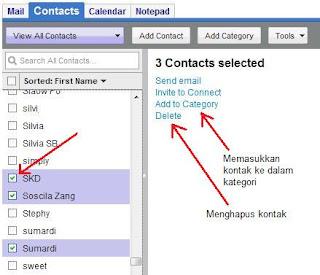 Memasukkan kontak ke dalam kategori