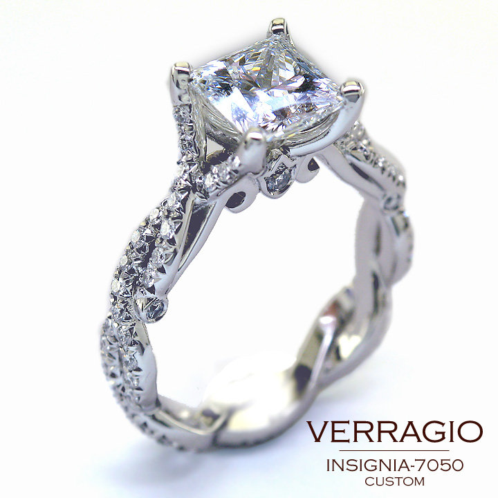 the Custom Designed INSIGNIA7050 engagement ring with a princesscut