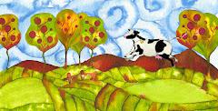 Vaca volando por el campo