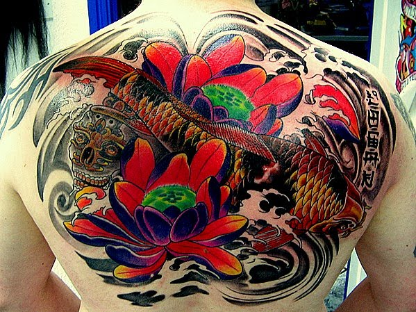 Therefore tattoos that represent koi fish often show them splashing in the