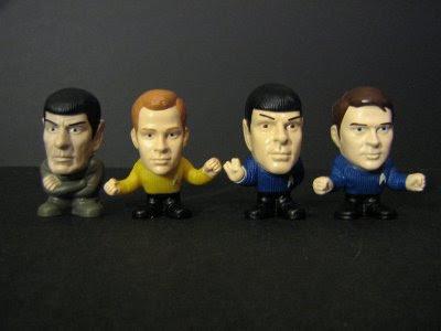 Example toys: Spock Prime, Kirk, Spock, McCoy
