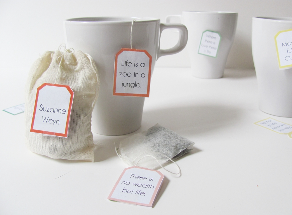 How To-Sday . Quotable Tea Bag Tags - Shrimp Salad Circus