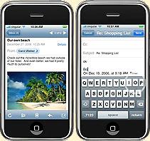La fonction émail du iPhone permet d'écrire du texte à deux doigts.