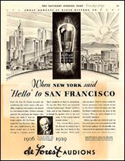 L'une des premières publicités pour l'Audion de Lee De Forest. Document T.Lombry/ON4SKY.