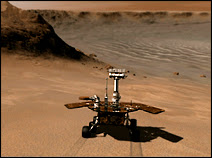 Le robot de la mission MER (Spirit ou Opportunity) en mission d'exploration sur les remparts du cratère Victoria. Document NASA/JPL/Cornell.