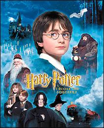 Affiche de la Warner Bros du premier film 'Harry Potter à l'école des sorciers' sorti en 2001.