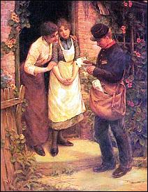 Le facteur (The Postman) par Armitage Thomas Liddall, Huile sur toile, fin XIXe.s.