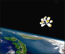 Aspect des cabines des passagers disposées en étoile autour d'une capsule centrale, elle-même solidaire de l'avion-fusée situé à l'arrière-plan (invisible).