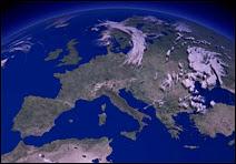 Anticyclone de blocage sur l'Europe le 26 juin 2001. Résultat sur le terrain : ciel clair, pas un seul nuage ne se profilait à l'horizon, ciel CAVOK comme l'on dit en aviation, c'était la canicule avec des températures supérieures à 30°C. Deux ans plus tard, même situation le 5 août 2003, mais cette fois les températures dépassèrent 40°C à l'ombre ! Document Yahoo!/US Weather.