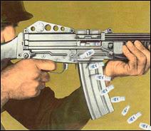 Illustration artistique d'un M16 'calmant'. Document T.Lombry.