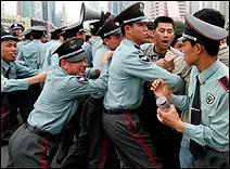 Manifestation à Shenzhen.