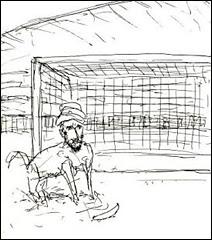 La caricature de Mahomet représenté avec un corps de chien par l'artiste suédois Lars Vilks dans le journal Nerikes Allehanda, la semaine dernière.