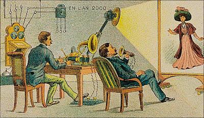 La correspondance cinéma-phono-télégraphique imaginée en 1910, l'ancêtre du visiophone et de la technologie multimédia. Document BNF.