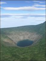 Reconstruction du cratère du lac Cheko à partir des données topométriques et bathymétriques. Le niveau du lac a été abaissé de 40 mètres pour mettre en évidence la forme en entonnoir atypique de la formation. Document Gasperini et al., U.Bologne.