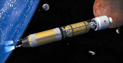 Fusée à destination de Mars propulsée par un réacteur nucléaire thermique. Document Wikimedia.