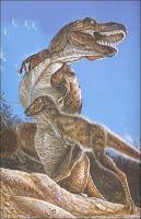 Un bébé T.rex recouvert de duvet. Dessin NGS.