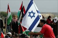 Les drapeaux d'Israël et de Gaza côte à côte. Document AFP.