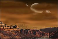 Illustration artistique des paysages de Titan en bordure d'un lac de méthane. Document T.Lombry.