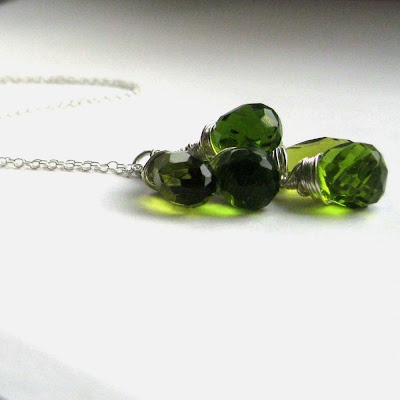 chartreuse coloured faceted briolette necklace