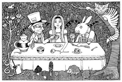 alice in wonderland mad hatters tea party very merry unbirthday