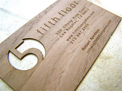 thin wood carved business card