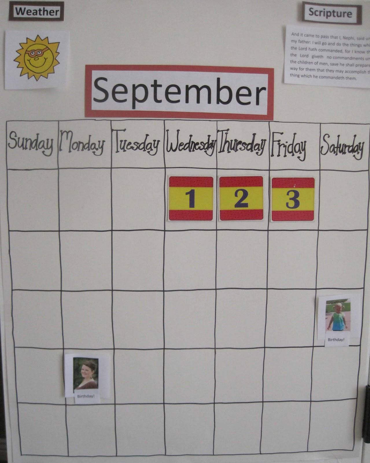 Calendar Ideas For Home : Children s learning activities home made calendar