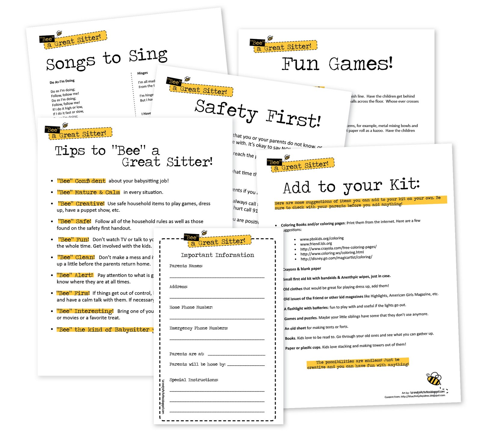 wendy s activities bee a great sitter to my bee a great sitter files via google docs click the links below handouts babysitting tips