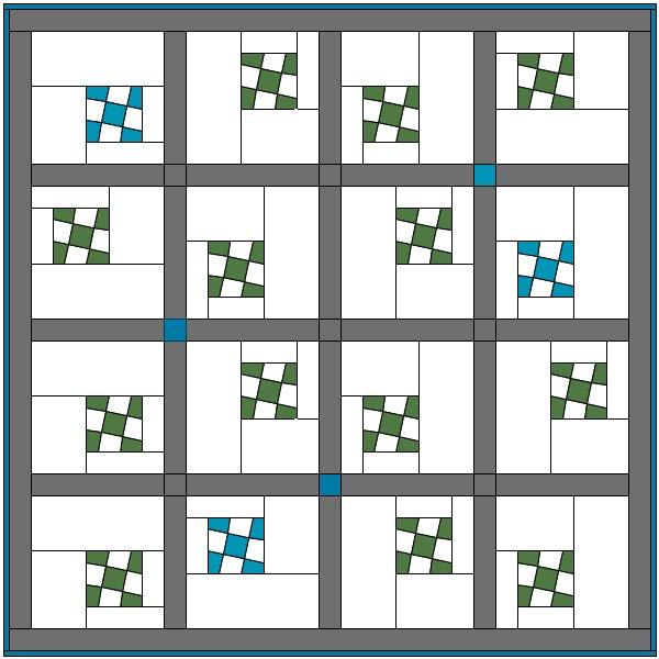Wonky 9 patch quilt accuquilt go compatible free modern quilt pattern