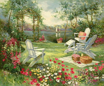 Hand painted Contemporary Landscape Garden Oil Painting
