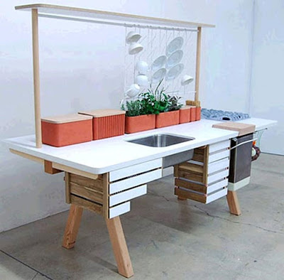 modern eco-friendly wooden kitchen island