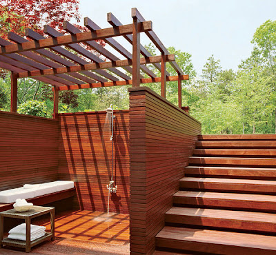 Outdoor shower made froom wood