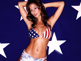 AMERICAN MODEL-DANCER BROOKE BURKE USA FLAG BIKINI PICTURE