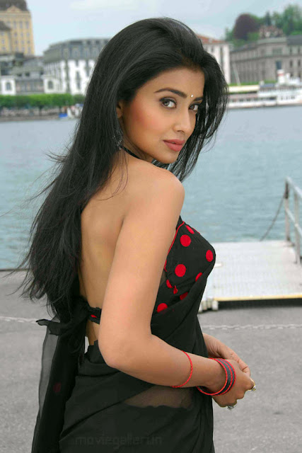 SHRIYA SARAN MODELING IN SEXY BLACK SAREE