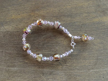 Pulsera plata, cristales swaroski, perlas de murano