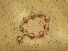 Pulsera plata, cristales, perlas murano, broche con zircones.