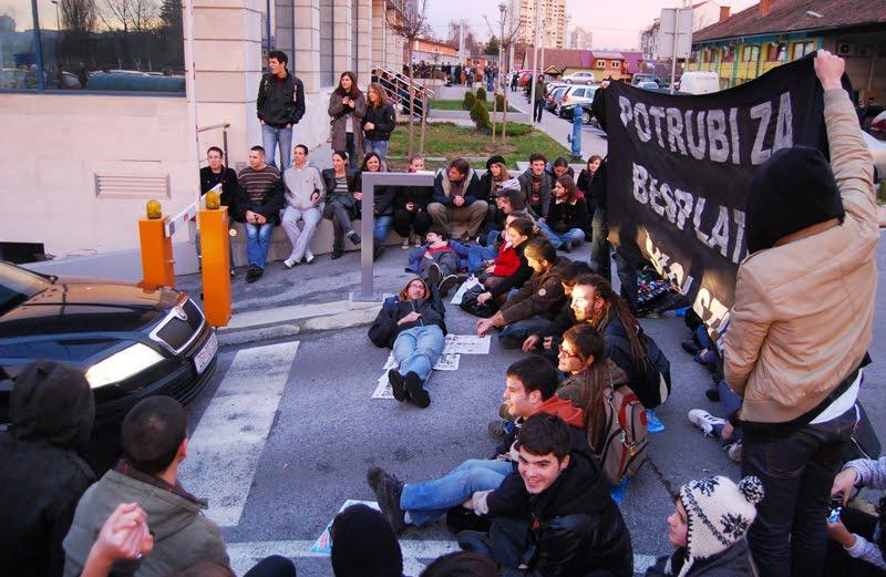 Prosvjed ispred MZOŠ, 1.12.2009. - 2