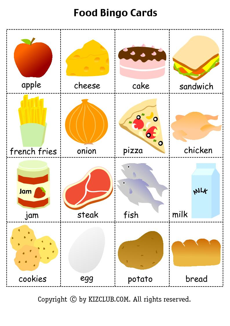 Food Bingo For Kids