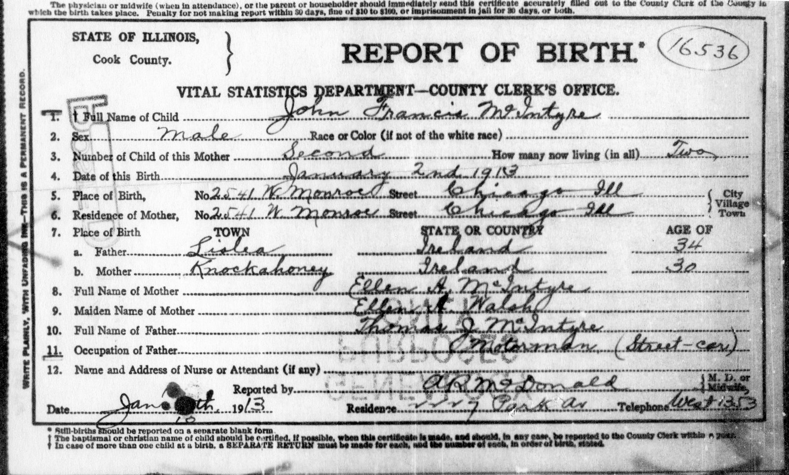 Mcintyrewalsh genealogy lawrence john francis mcintyre birth lawrence mcintyre was named john francis on his january 2 1913 birth certificate the family story is that his father thomas had two brothers aiddatafo Image collections