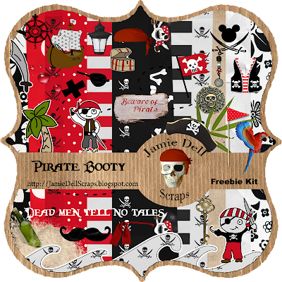 "Scrapbook Freebie Kit ""Pirate Booty"" from Jamie Dell Scraps"