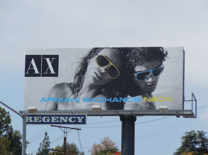 Armani Exchange Neon sunglasses billboard