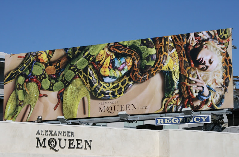 Alexander McQueen snakes fashion billboard