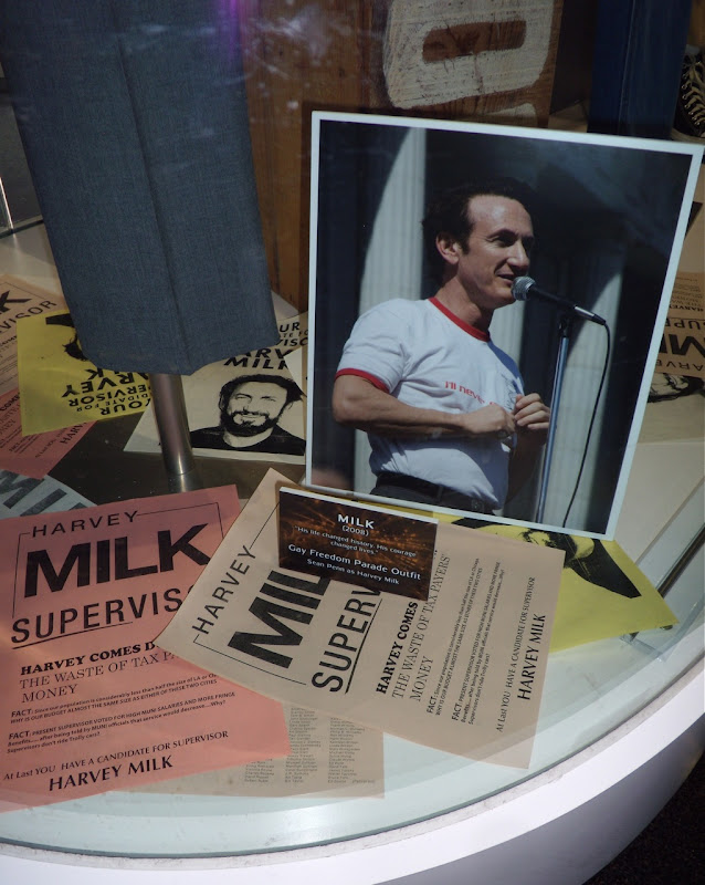 Milk gay pride film outfit and prop literature