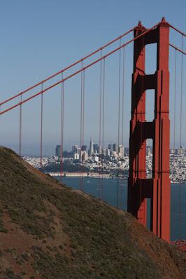 San Francisco view through Golden Gate Bridge