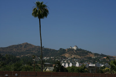 View of Griffith Observatory framed by blue skies