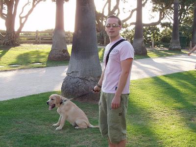 Cooper & Jason walking in the park