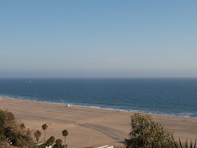 View from park of Santa Monica beach
