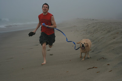 Charlie & Cooper running up the beach